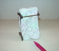 Miniature Hand Knit Afghan on Walnut Quilt Rack, PASTELS: DOLLHOUSE 1/12 Scale