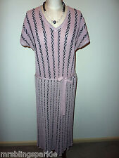 Vintage Peter Lord Dusky Pink / Black Stretchy Wool Blend Knit 70S 30S Sz12-14