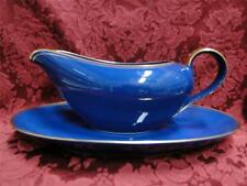 Fitz & Floyd Pavillon Cobalt with Gold Trim: Gravy Boat with Separate Underplate