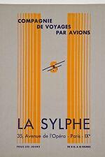 Projet Publicité 1930 Compagnie de Voyages par Avions LA SYLPHE Paris E Estienne
