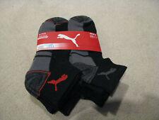 Puma Men's Quarter Crew Socks 6 pair black grey red NEW