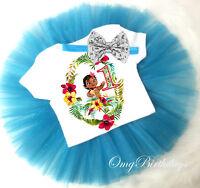 Baby Moana Princess Blue Girl 1st First Birthday Tutu Outfit Shirt Set sq
