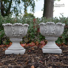 PAIR OF SMALL TULIP VASES Stone Flower Planter Garden Ornament Vase ⧫onefold-uk
