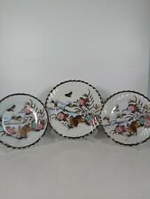 More details for 3x vintage hand painted japanese plates, 18cm & 21.5cm