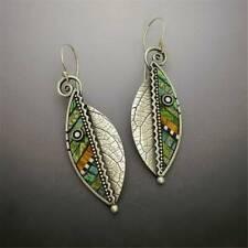 Boho Green Leaf Drop Dangle Hook Earrings Ethnic Abstract Women Jewelry Gifts