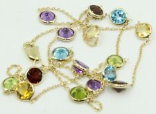 Multi-color Gemstones 20 Inches Necklace 14k Yellow Gold Chain with Lobster Lock
