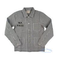 OKONKWO USN Hickory Vintage Motorcycle Jacket Stripe Working Clothes Men's Coat