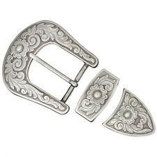 """3/8"""" Antique Silver Finish Diablo Buckle Set - 3 8"""" Plated Tandy Leather Craft"""