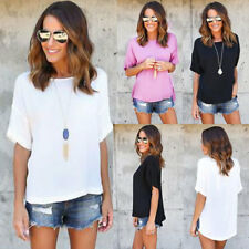 UK Womens Summer Ladies Casual Loose Short Sleeve T Shirt Blouse Tops Tee Hot