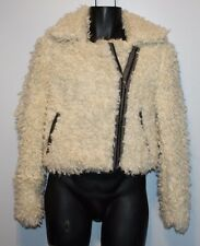 NICE Free People Ivory Thick Shaggy Sherpa Moto Coat Jacket SMALL Faux Fur Fluff