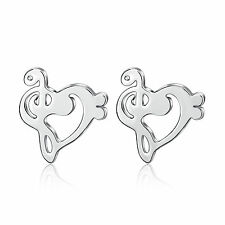 925 Sterling Silver Treble G Clef Bass Music Musical Note Heart Ear Stud Earring