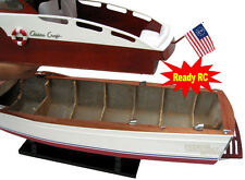 "Handcrafted Chris Craft Commander Wooden Model Boat 30"" Ready RC"
