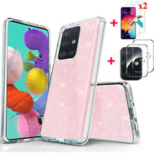For Samsung Galaxy A51 A71 Bling Case Cover+Tempered Glass+Camera Lens Protector
