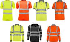 Mens Hi Viz Vis Visibility Polo Shirt Reflective Tape Safety Security Work Top