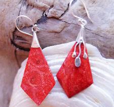 Handgefertigte Ohrschmuck im Hänger-Stil mit echten Edelsteinen Korallen