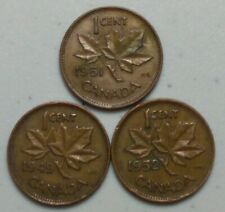1949, 51 & 52  Canada 1 Cent Penny  KING GEORGE VI Variety Lot of 3