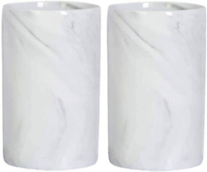 JHNIF 2 Gray Marble Stripes Ceramic Tumbler Cup,Tooth-Brushing Cup Bathrooom