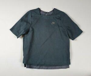 Nike Women's M Tech Fleece Crew Short-Sleeved Black Top Size Medium