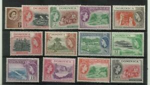 DOMINICA 1954 Short Set of 13 of 19, Sg 140-158 Series, Mounted Mint. {Box 5-23}