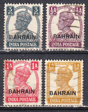 BAHRAIN 1942-44 KGVI INDIA OVERPRINTED SELECTION SCOTT 38/42 USED