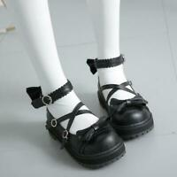 Womens round toe bowknot Lolita Mary Jane Cute Cross Strappy Platform Shoes Cute