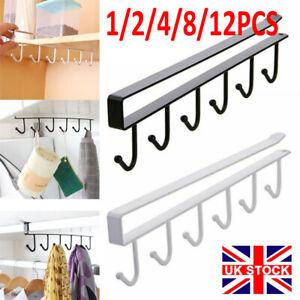 12PCS 6 Hooks Metal Under Shelf Mug Cup Cupboard Kitchen Organiser Hanging Rack