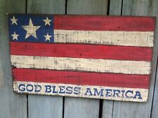 """God Bless America - Wooden Hand Painted Patriotic Flag Sign - 20"""" x 11-3/4"""""""
