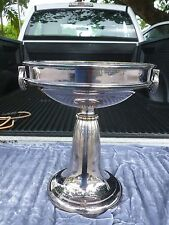 MONUMENTAL FRENCH LA GERBE D'OR ART DECO 2 HANDLED SILVERPLATE BOWL CENTERPIECE