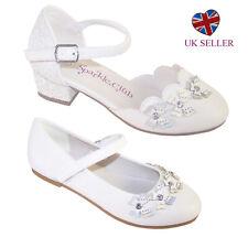 Chicas niñas con flores blancas Primera Sagrada Comunión Dama De Honor Fiesta Zapatos Tacón Ballet