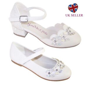 Girls White Flower Girl Bridesmaid First Holy Communion Party Shoes Heel Ballet