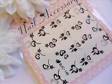 Nail Art Valentine Brillo Plata Negro Arcos Amor Corazón pegatina Agua calcomanías 148