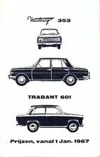 Trabant 601 & Wartburg 353 Dutch market Price List 1967 brochure