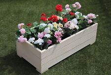 1 METRE LARGE WOODEN GARDEN PLANTER TROUGH EXTRA WIDE IN CUPRINOL CREAM DECKING