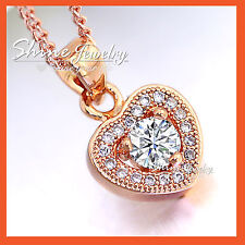 18K ROSE GOLD GF HEART CRYSTAL SOLID LADIES GIRLS WEDDING NECKLACE PENDANT GIFT