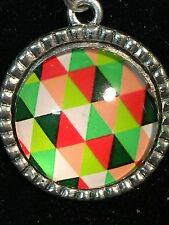 "Kaleidoscope Quilt Pattern Charm Tibetan Silver 18"" Necklace L *4*"
