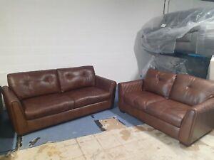SiSi Italia Raphael 3 seater + 2 seater sofa in brown Leather. Ex ScS stock