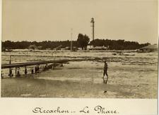 France, Arcachon, Le Phare Vintage albumen print.  Tirage albuminé  11x16