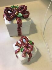 Fitz & Floyd Trinket Boxes (2) Red Bow Ribbon Holly Holiday Christmas Vintage