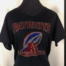 Women's AFC Champions New England Patriots Rhinestone Football V-neck T Shirt