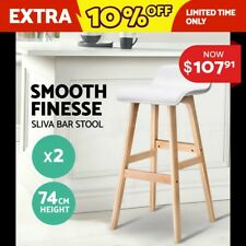 2x Bentwood Bar Stool Wooden Barstool Dining Chair Kitchen Leather White 077