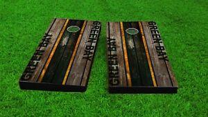 Green Bay / Distressed Football Woodslat Custom Cornhole Board Set