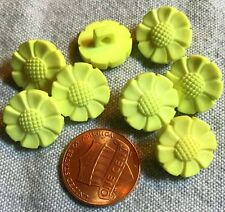 "8 Pale Yellow Plastic Shank Buttons Flower Floral Daisy 9/16"" 14mm 8703"