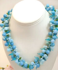 Vintage Costume Early Plastic Fruit Salad Necklace Blue