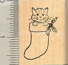 Christmas Cat Rubber Stamp, Kitten in Stocking E3614 WM