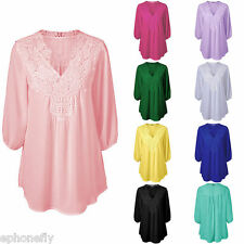 Women Plus Size Casual 3/4 Sleeve Shirt Tops Loose Blouse Ladies Chiffon Tee Top