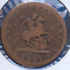 1857 Upper Canada Penny Token, KM-Tn3 [Auto. Combined Shipping](28623)
