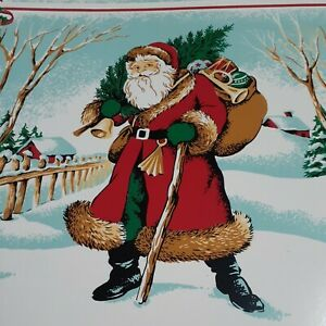 Vintage Vinyl Placemats Set of 4 Woodland Santa EUC
