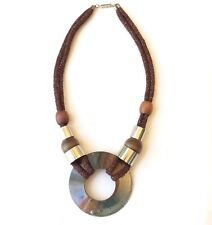"VINTAGE COSTUME JEWELRY NECKLACE & PENDANT, COPPER, WOOD, FABRIC, METAL, 21"" L"