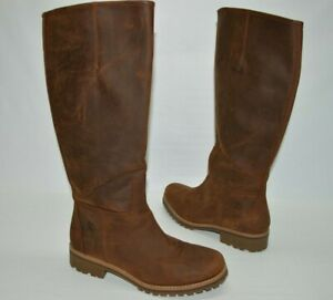 Timberland Brown Nubuck Leather Tall Zip Pull On Boots Women's Size 8.5