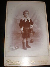 Old Cabinet photograph boy toy horse ball by Watson & wilson Glasgow c1890s